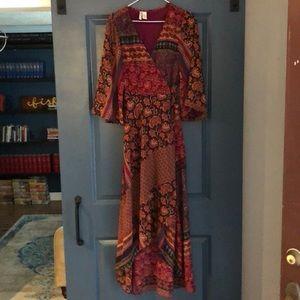 Japna Dresses - Burgundy Mixed Print Wrap Dress